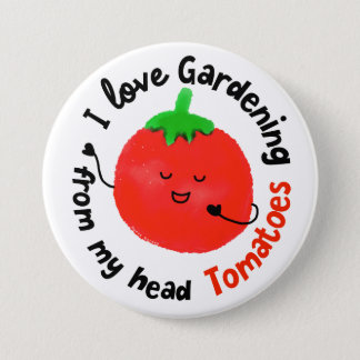 Positive Tomato Pun - From My Head Tomatoes Button