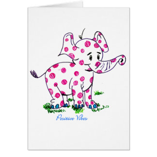 Positive Vibes Elephant Card