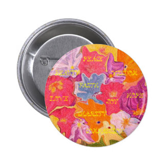 Positive Vibs Pin with flowers and uplifing  words