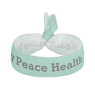 Positive word affirmations black on mint custom ribbon hair tie
