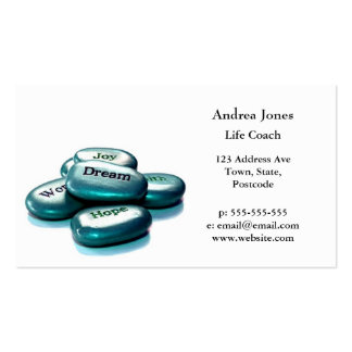 Positive word stones life coach business card