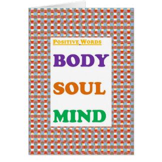 Positive words: Body Soul Mind  Yoga Meditation Card
