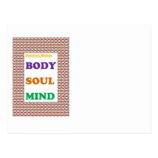 Positive words: Body Soul Mind  Yoga Meditation Postcard