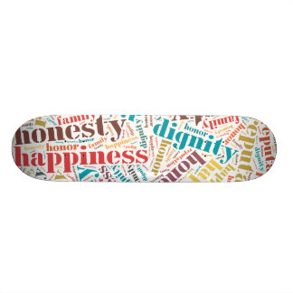 Positive words cloud skateboard deck