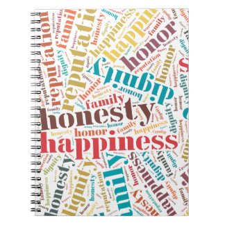 Positive words cloud spiral notebook