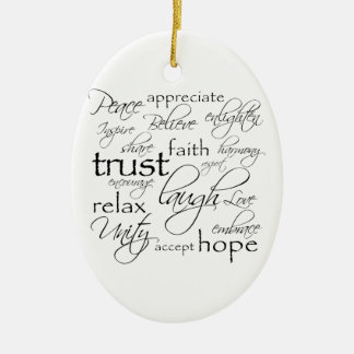Positive Words Items Ceramic Ornament
