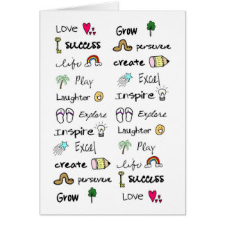 Positive Words Note Card