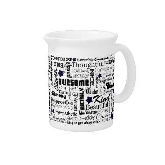 Positive words typography beverage pitcher