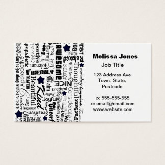 Positive words typography business card