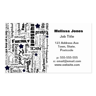 Positive words typography business card template