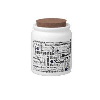 Positive words typography candy jar