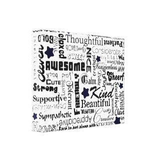 Positive words typography gallery wrapped canvas