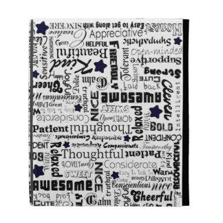 Positive words typography iPad folio cover