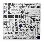 Positive words typography ceramic tiles