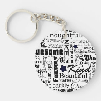 Positive words typography keychain