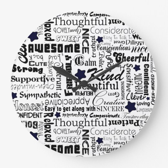 Positive words typography large clock