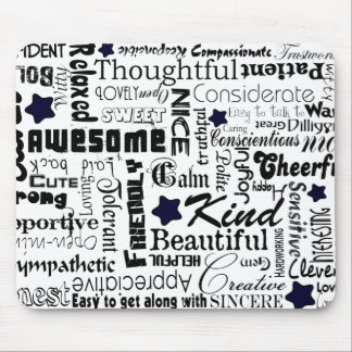 Positive words typography mouse pad