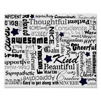 Positive words typography poster