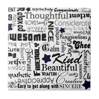 Positive words typography small square tile
