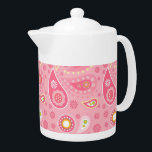 """Positively Pink Paisley Teapot<br><div class=""""desc"""">Yes. I was a Flower Child in the 60s &amp; 70s. Lucky for me,  all my clothes are now back in style. Graphics by Lilly Bimble</div>"""