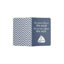 Positivity Mindset Nautical Sail boat Quote Passport Holder
