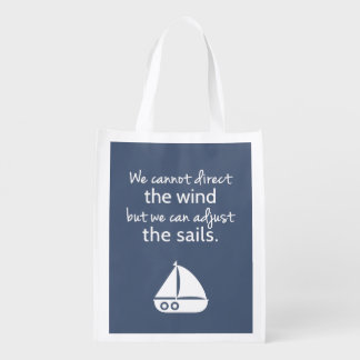 Positivity Mindset Nautical Sail boat Quote Reusable Grocery Bag