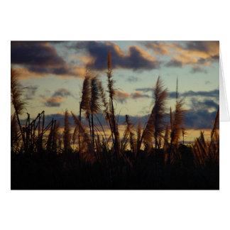 Posluminiscencia de la puesta del sol a través de  tarjeta de felicitación