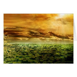 Posluminiscencia del rayo de sol tarjeta de felicitación