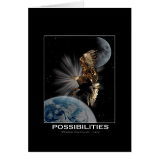 """""""POSSIBILITIES"""" Bald Eagle Motivational Gifts Greeting Card"""