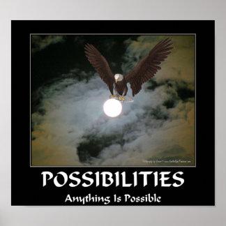 Possibilities Motivational Qu Bald Eagle Full Moon Posters