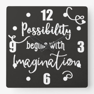Possibility Begins Motivational Chalkboard Text Square Wall Clock