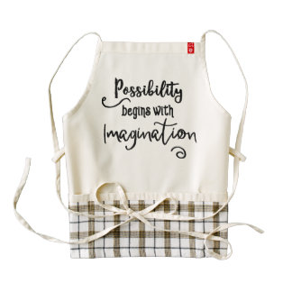 Possibility Begins Motivational Text Art Zazzle HEART Apron