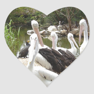 Possible Plotting Pelican Problems Heart Stickers