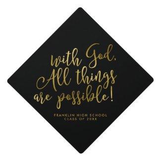 Possible With God Gold Scripture Graduation Graduation Cap Topper