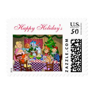 Possum Dinner Happy Holiday's Stamp