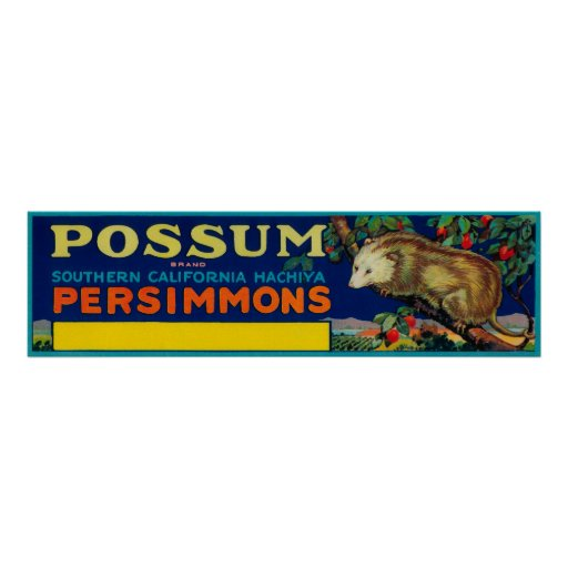 Possum Persimmon LabelSouthern California Posters