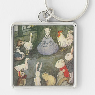 Possum Schoolmarm with Class Silver-Colored Square Keychain