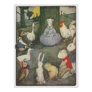 Possum Schoolmarm with Class Poster