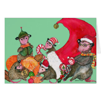 Possums funny Christmas Card, Feasting on Goodies Card