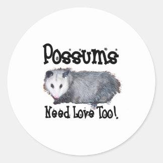 Possums Need Love Too Classic Round Sticker