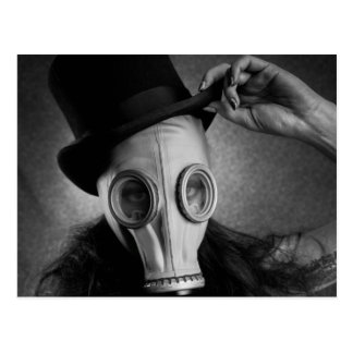 post-apocalyptic steam punk gas mask girl postcard