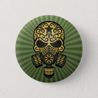Post Apocalyptic Sugar Skull, army green Button