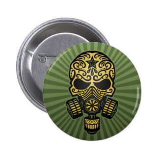 Post Apocalyptic Sugar Skull, army green Button