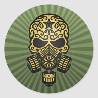 Post Apocalyptic Sugar Skull, army green Classic Round Sticker