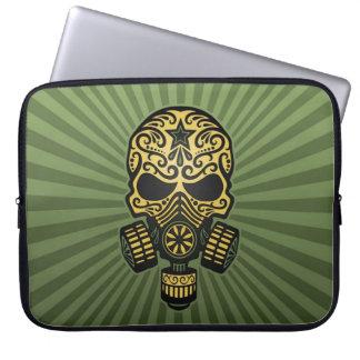 Post Apocalyptic Sugar Skull, army green Laptop Sleeve