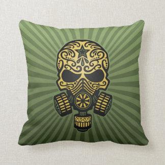 Post Apocalyptic Sugar Skull, army green Pillows