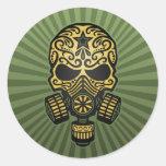 Post Apocalyptic Sugar Skull, army green Round Sticker