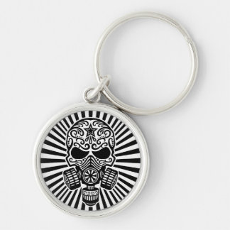Post Apocalyptic Sugar Skull, black and white Keychain