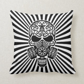 Post Apocalyptic Sugar Skull, black and white Pillow