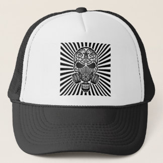 Post Apocalyptic Sugar Skull, black rays Trucker Hat